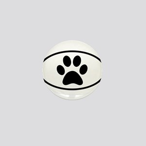 Paw Print Euro Oval Mini Button