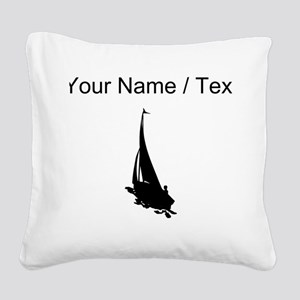 Custom Sail Boat Silhouette Square Canvas Pillow