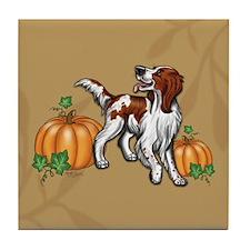 Irish Red White Setter Autumn Tile Coaster