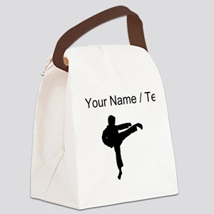 Custom Karate Kick Silhouette Canvas Lunch Bag