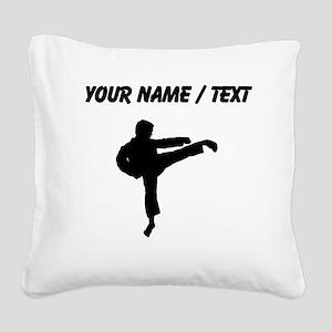 Custom Karate Kick Silhouette Square Canvas Pillow