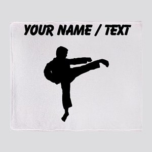Custom Karate Kick Silhouette Throw Blanket