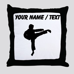 Custom Karate Kick Silhouette Throw Pillow