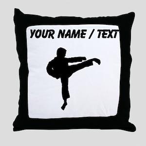 Custom Karate Kick Silhouette Throw Pillow