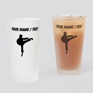 Custom Karate Kick Silhouette Drinking Glass