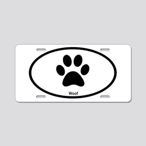 Paw Print Woof Euro Oval Aluminum License Plate