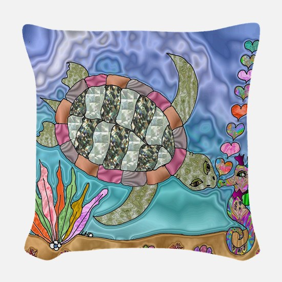 Sea Turtle Seahorse Art Woven Throw Pillow