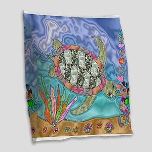 Sea Turtle Seahorse Art Burlap Throw Pillow