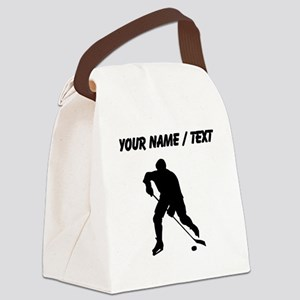 Custom Hockey Player Silhouette Canvas Lunch Bag