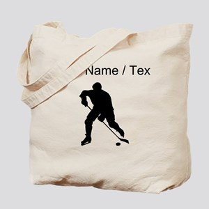Custom Hockey Player Silhouette Tote Bag