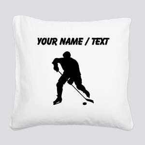 Custom Hockey Player Silhouette Square Canvas Pill
