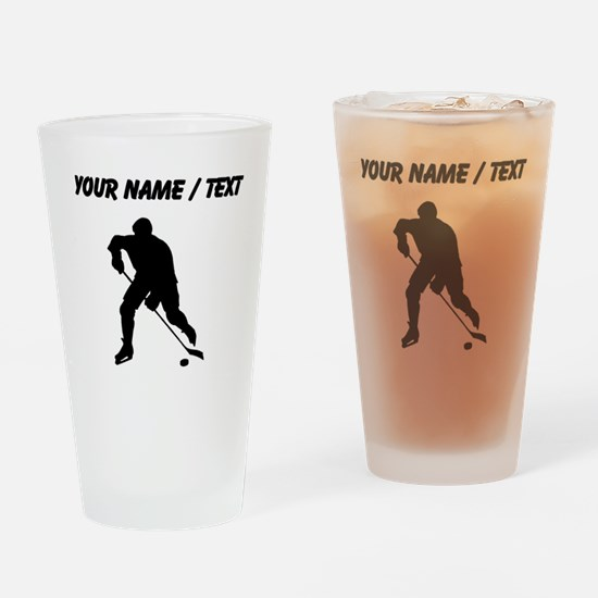 Custom Hockey Player Silhouette Drinking Glass