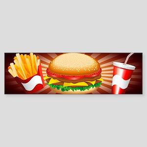 Fast Food Hamburger Fries and Drink Bumper Sticker