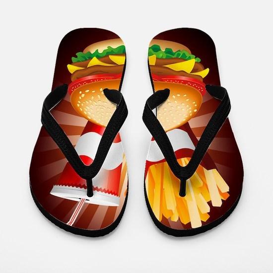 Fast Food Hamburger Fries and Drink Flip Flops