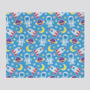 Outer Space Astronaut rockets Throw Blanket