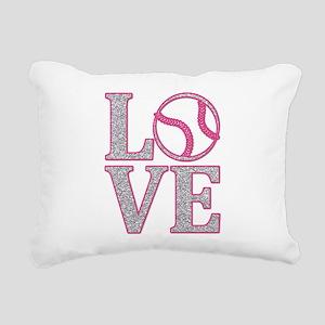 Baseball LOVE Rectangular Canvas Pillow