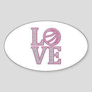 Basketball LOVE Sticker (Oval)