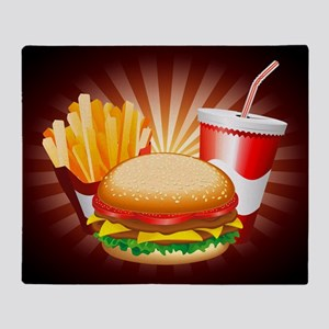 Fast Food Hamburger Fries and Drink Throw Blanket