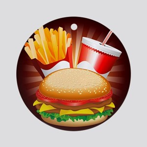 Fast Food Hamburger Fries and Drink Ornament (Roun