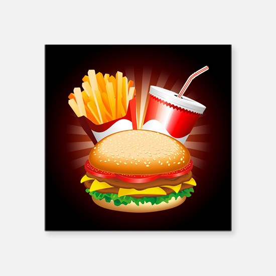 Fast Food Hamburger Fries and Drink Sticker
