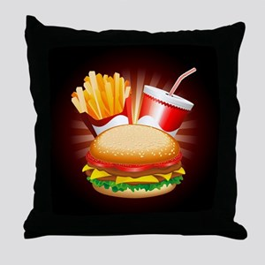 Fast Food Hamburger Fries and Drink Throw Pillow