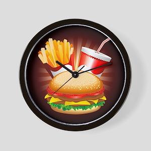 Fast Food Hamburger Fries and Drink Wall Clock