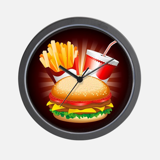 Fast Food Hamburger Fries and Drink Wall Clock