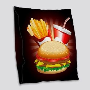 Fast Food Hamburger Fries and Drink Burlap Throw P