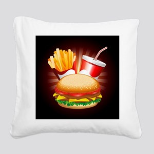 Fast Food Hamburger Fries and Drink Square Canvas