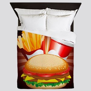 Fast Food Hamburger Fries and Drink Queen Duvet