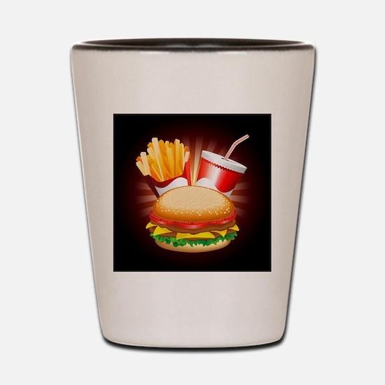 Fast Food Hamburger Fries and Drink Shot Glass