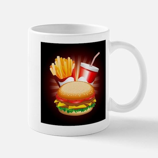 Fast Food Hamburger Fries and Drink Mugs