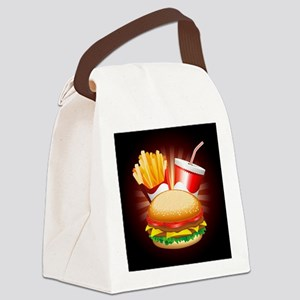 Fast Food Hamburger Fries and Drink Canvas Lunch B