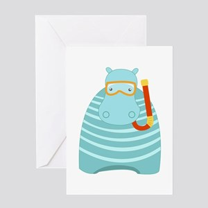 Snorkeling Hippo Greeting Cards