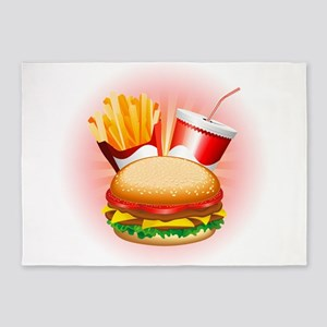 Fast Food Hamburger Fries and Drink 5'x7'Area Rug