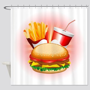 Fast Food Hamburger Fries and Drink Shower Curtain