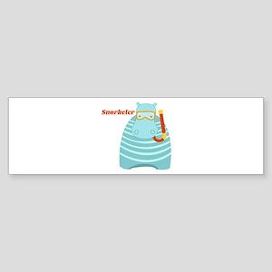 Hippo Snorkeler Bumper Sticker