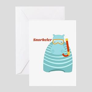 Hippo Snorkeler Greeting Cards