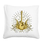 Golden Winged Guitar Square Canvas Pillow