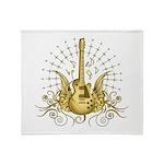 Golden Winged Guitar Throw Blanket