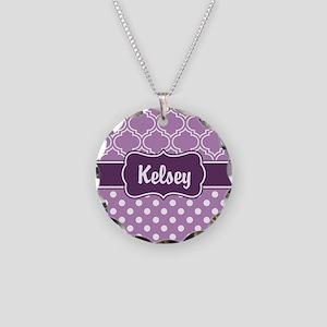 Purple Dots and Lattice Patt Necklace Circle Charm
