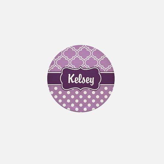 Purple Dots and Lattice Pattern Mini Button