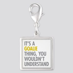 Its A Goalie Thing Silver Square Charm