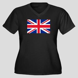 Britain Flag Women's Plus Size V-Neck Dark T-Shirt
