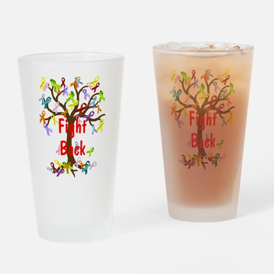 Fight Back Cancer Ribbon Tree Drinking Glass