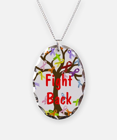 Fight Back Cancer Ribbon Tree Necklace