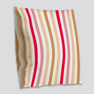 Colorful Pastel Stripes Patter Burlap Throw Pillow