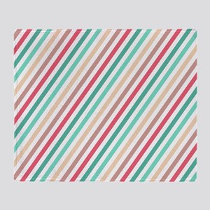 Diagonal Colorful Stripes Throw Blanket
