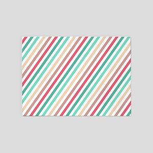 Diagonal Colorful Stripes 5'x7'Area Rug