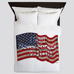 I Will Never Forget 9-11-01 American Queen Duvet